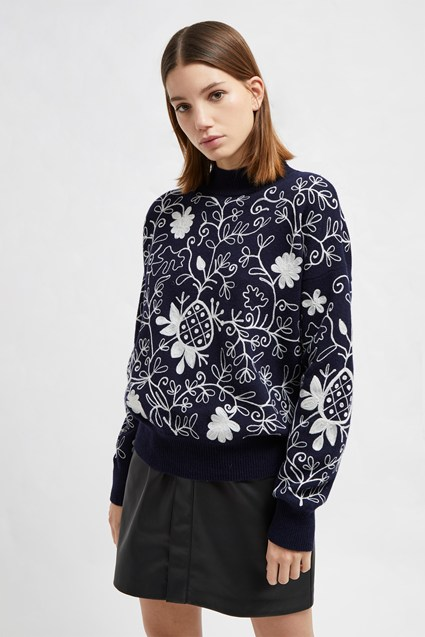 Sacha Embroidered Knit High Sweater