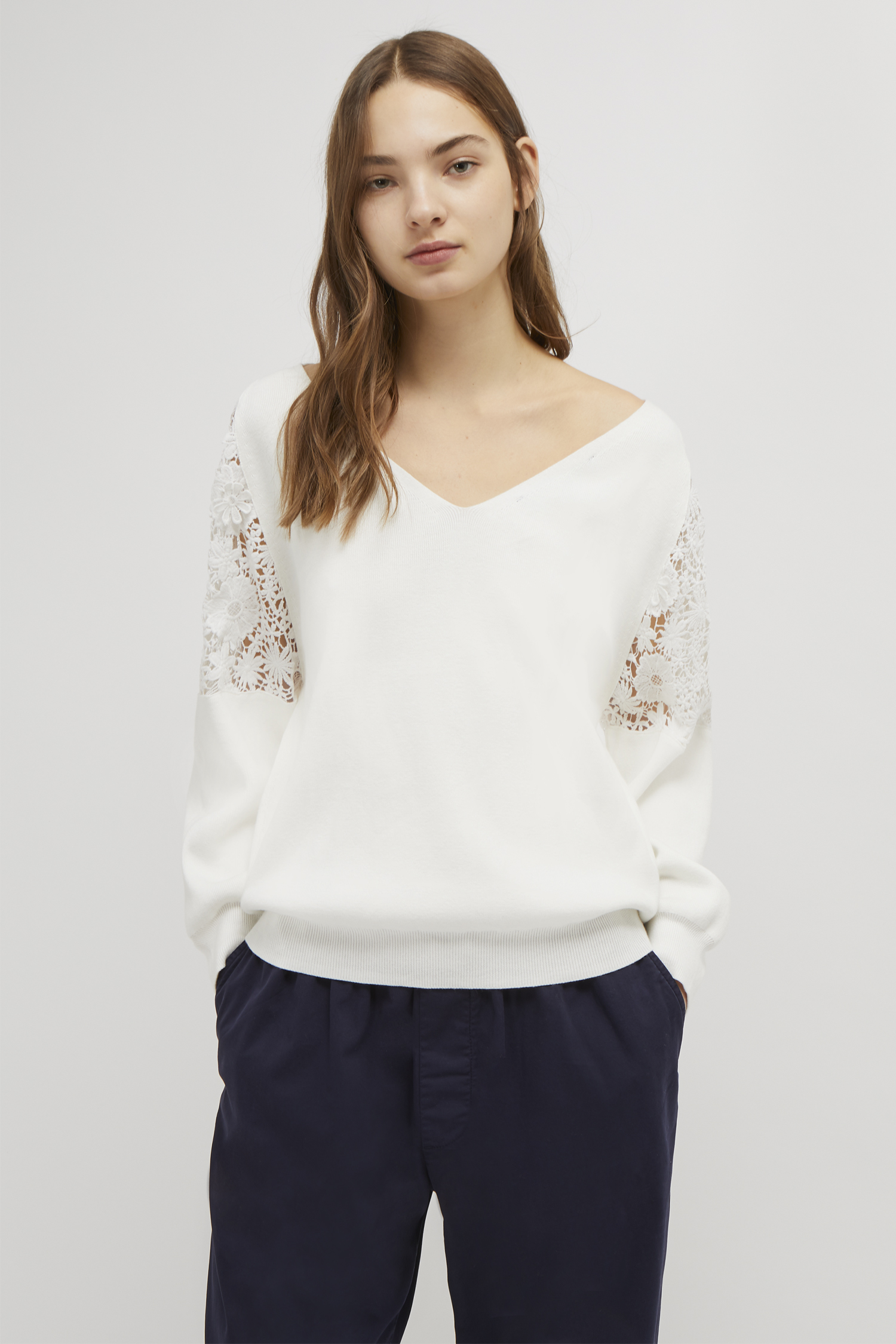 fc15b70612f Ortic Reversible V Neck Lace Sweater