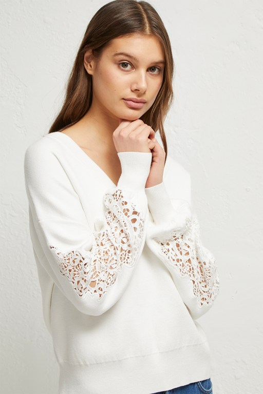 severine lace knit sweater