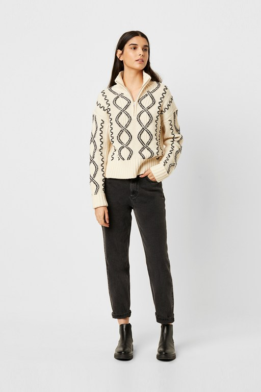 Complete the Look Susa Cable Knits Zip Neck Jumper