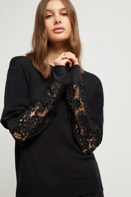ramona knits lace layered sweater