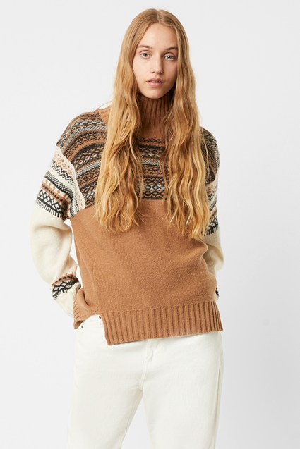 Patchwork Fairisle Knits High Neck Jumper