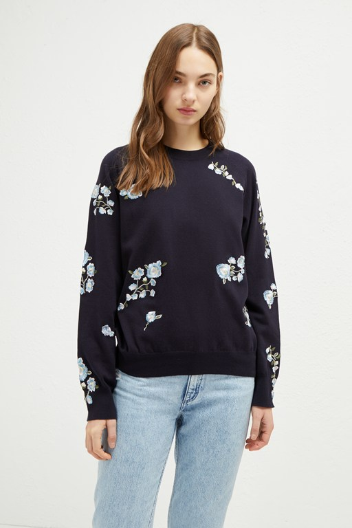 rielle embroidered knit sweater