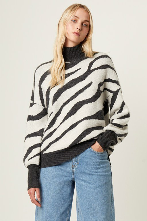 tiger jacquard high neck sweater