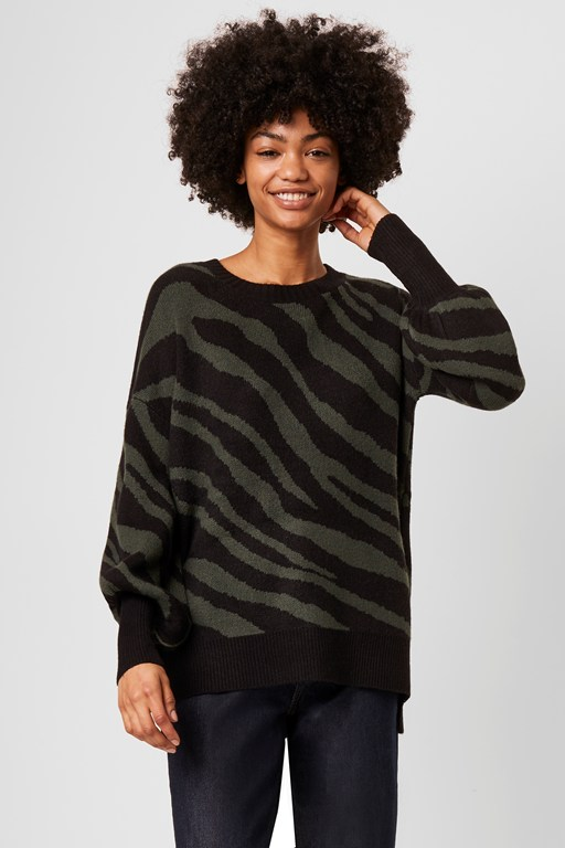 tiger jacquard crew neck sweater