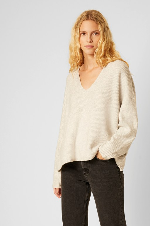 flossy ribbed v neck sweater