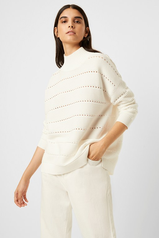 liliya mozart knit lace stripe sweater