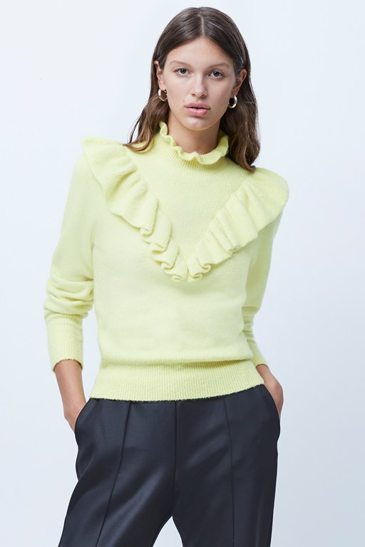 mira flossy knit frilled jumper