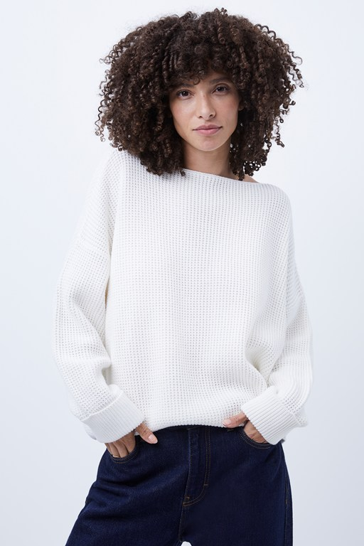 waffle knit millie mozart slash neck jumper