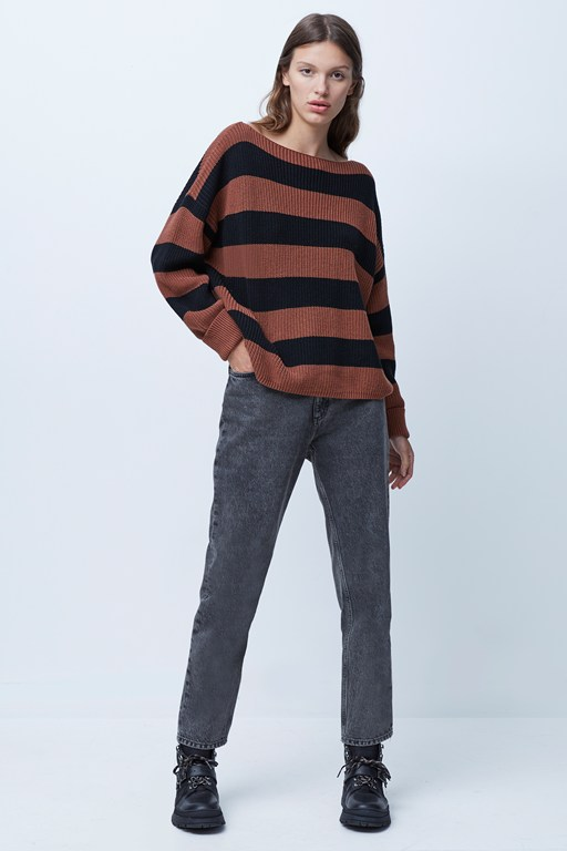 millie mozart stripe slash neck jumper