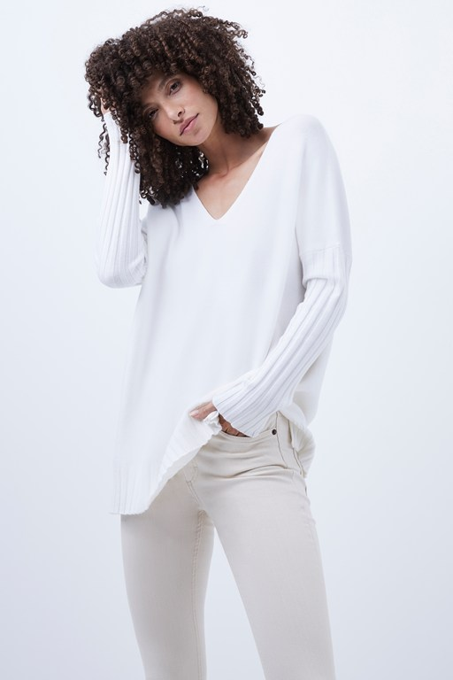 babysoft rib sleeve v-neck sweater