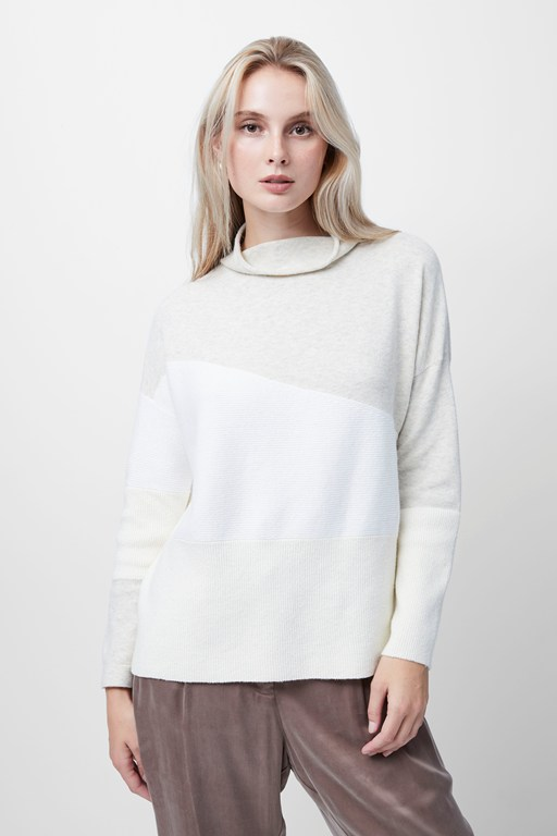 sophia knits high neck color block sweater