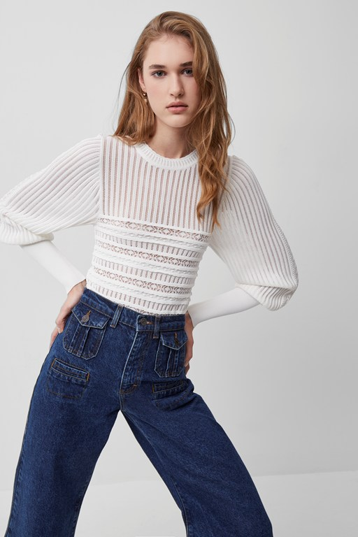 orielle knitted puff sleeve jumper