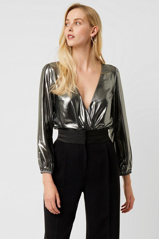 metallic drape puff sleeve bodysuit