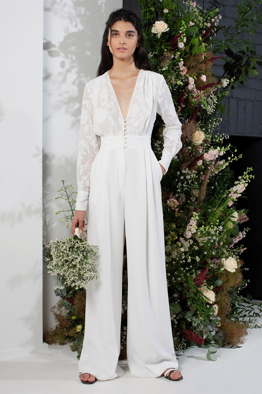 annalise satin belted bridal jumpsuit