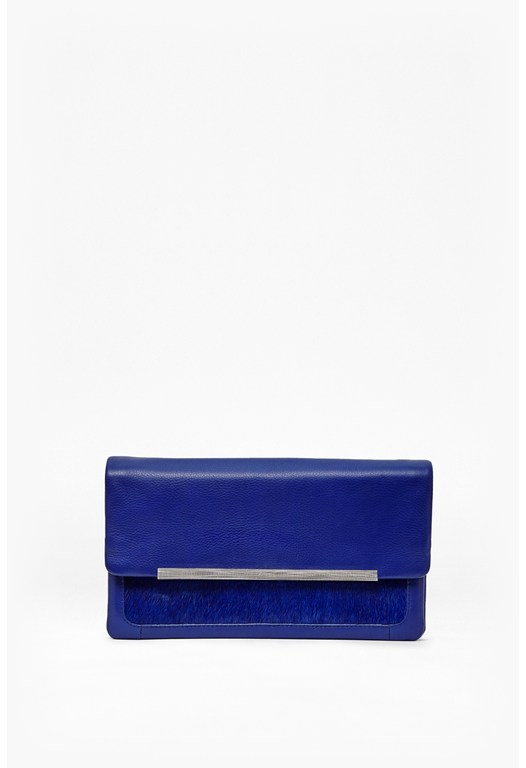 Cleo Leather and Ponyskin Clutch