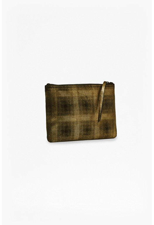 Nahla Metallic Leather Pouch