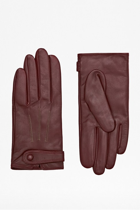 Contrast Stitch Leather Gloves