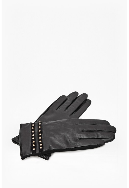 Leather and Suede Studded Gloves