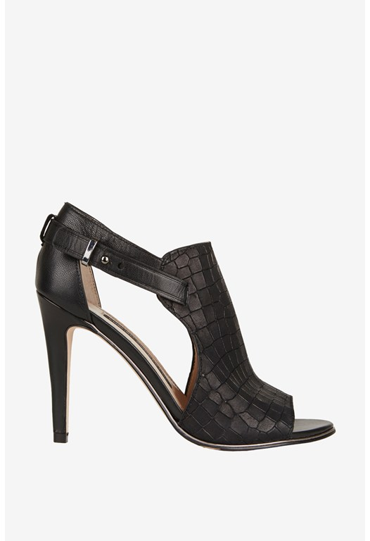Novella Croc-Effect Leather Heels
