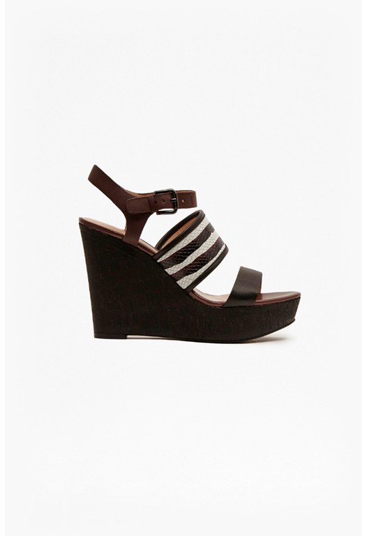 Devi Leather Wedge Sandals