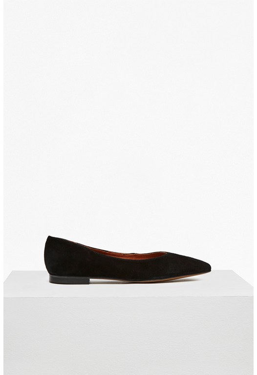 Naya High Vamp Suede Pointed Flats