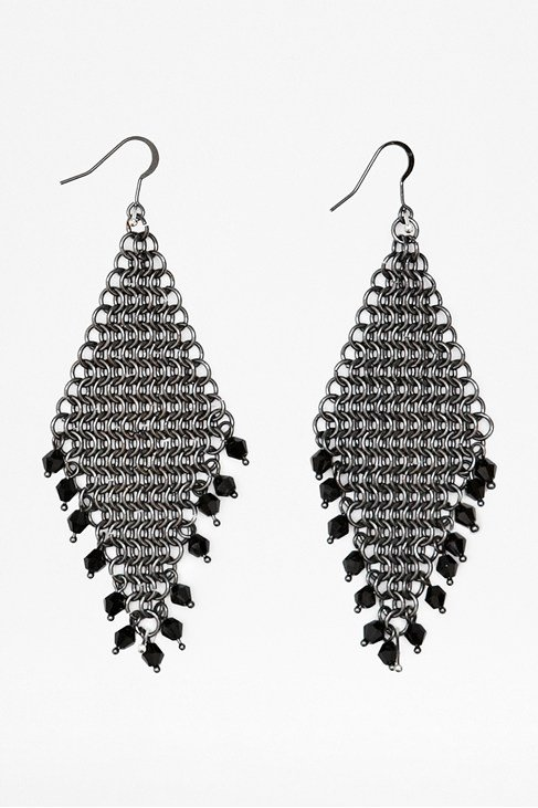 Chainmail Beaded Drop Earrings