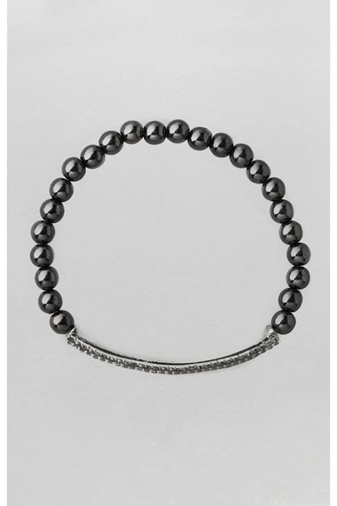 Pave Section & Pearl Stretch Bracelet