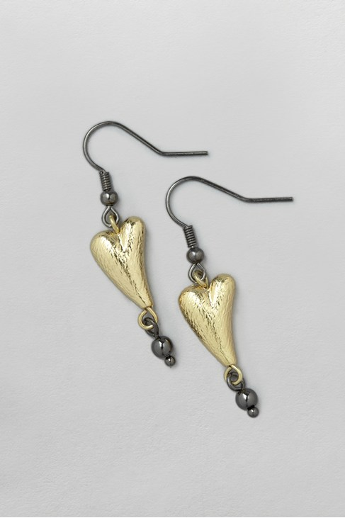 Brushed Heart and Bead Earrings
