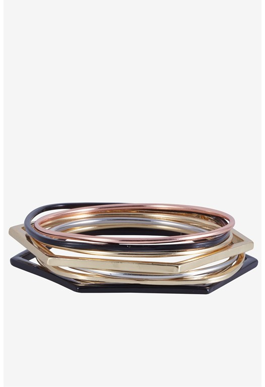 8 Set Bangle Circ Cube Rectangle Hexagon Bracelet