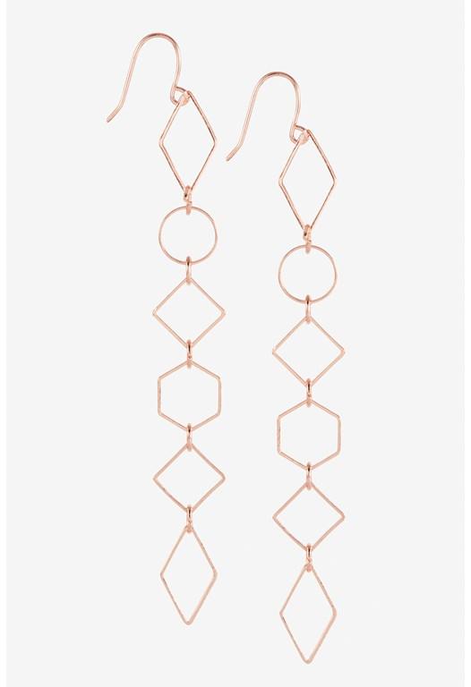 Delicate Long Geometric Link Earring