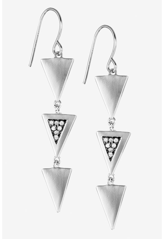 Triple Mini Triangle Linear Earring