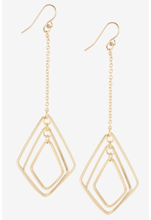 Chain Drop Diamond Triple Link Earring