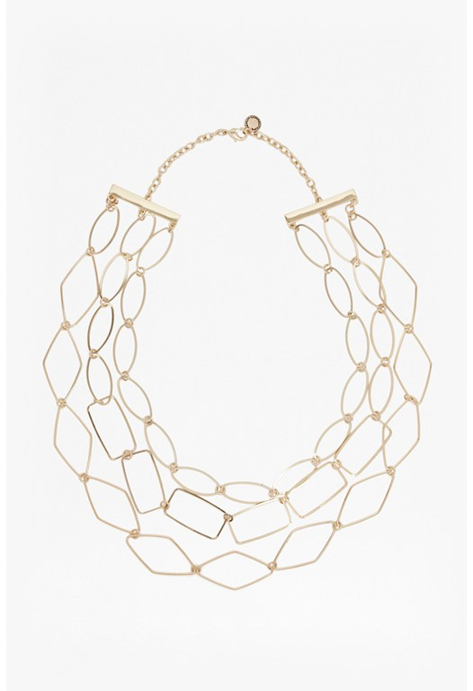 Three Strand Polygon Link Necklace