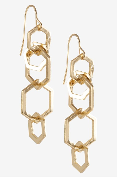 Hexagon Link Linear Earring