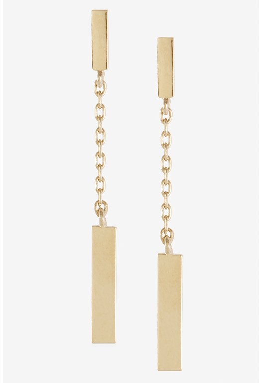 Rectangle Bar Double Chain Drop Earring