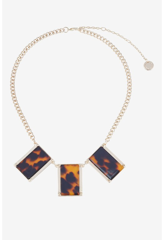 Tortoise Inlay Block Necklace