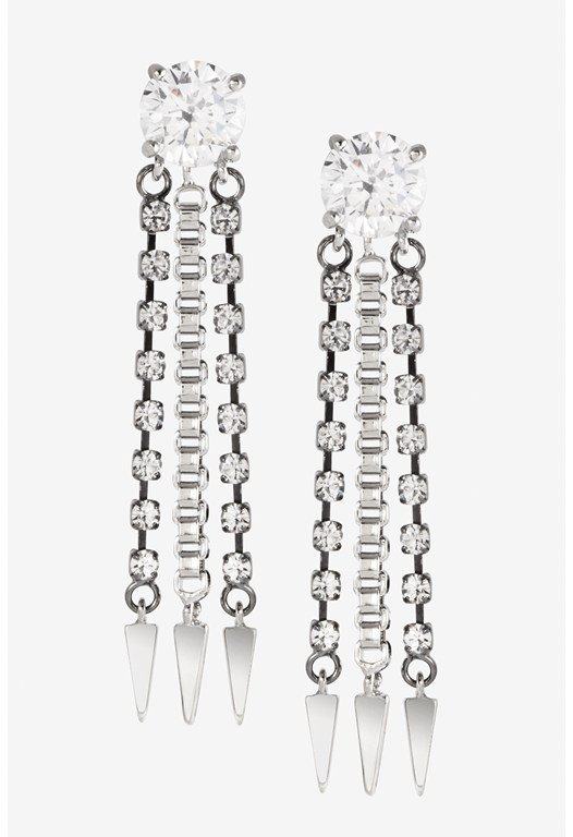 Crystal Stud Chain Drop Earrings