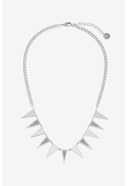Mini Triangle Pave Detail Frontal Necklace