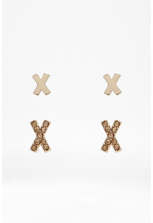 Mini Metal Cross Earring Set