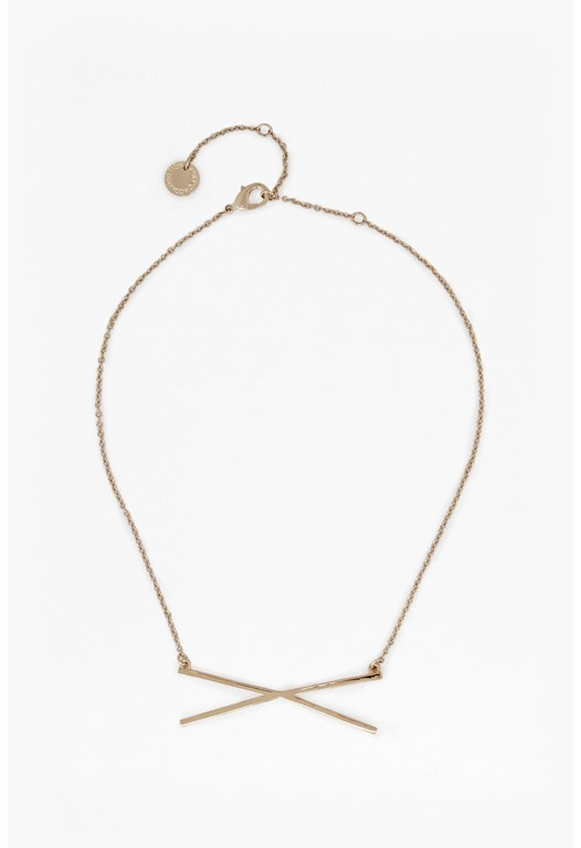 Plain X-Shaped Pendant Necklace