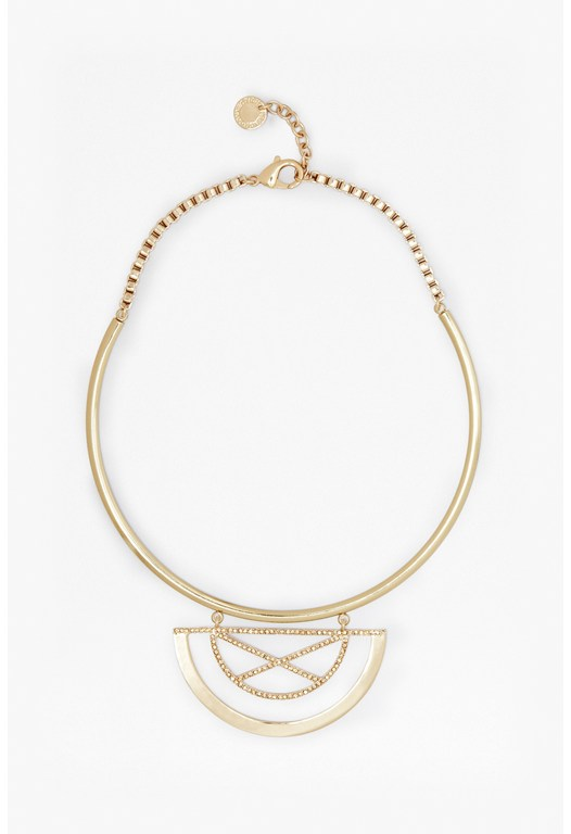 Adjustable Pave X Half Orbit Torque Necklace
