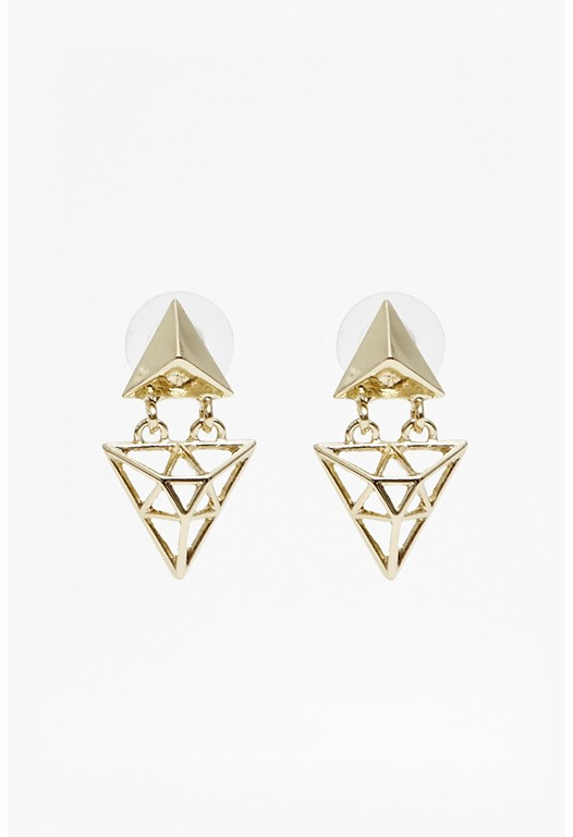 Triangle Double Drop Earrings