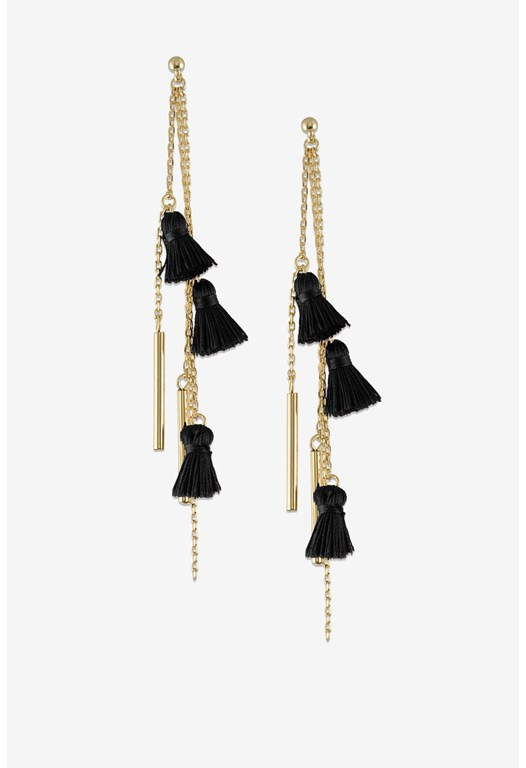 EARRINGS-LINEAR TASSEL DROP