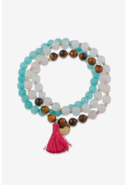Beaded Stretch/Tassel Bracelet