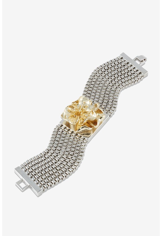 BRACELET-MULTI BOXCHAIN/FLOWER