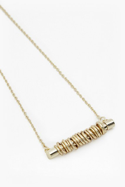 Tube With Rings Pendant Necklace