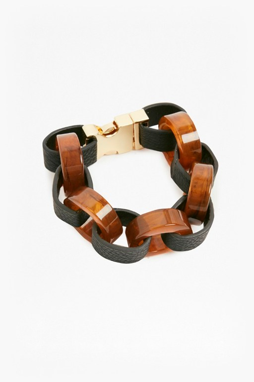 Complete the Look Resin Leather Look Link Bracelet