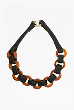 Looks Great With 20 Inch Resin Leather Look Link Necklace