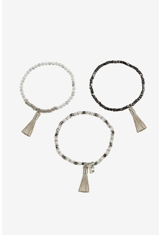 Semi Bead Tassel Set Of 3 Bracelets